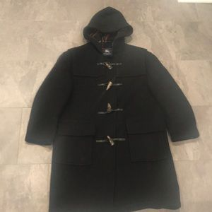 Authentic Burberry Black Wool Toggle Coat